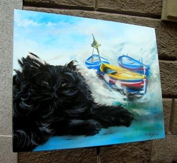Il Gatto e il Mare, acrilico su tela, f.to 80x100