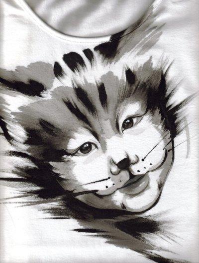 Gatto Sirio - ritratto dipinto a mano su t-shirt realizzato da Anna Maria Di Giorgi