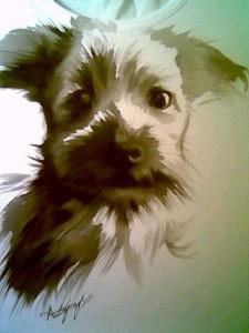 Meg - dipinto a mano da Anna Maria Di Giorgi su maglia di cotone