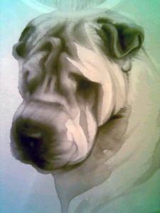 Prugna - dipinto a mano da Anna Maria Di Giorgi su maglia in viscosa