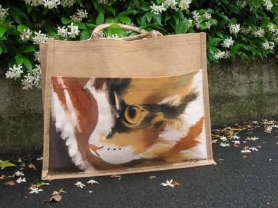 Anna Maria Di Giorgi - dipinto su borsa in juta con tasca di cotone