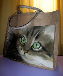 Anna Maria Di Giorgi: Ritratto di Sara realizzato su borsa di juta con tasca di cotone (clicca per ingrandire)