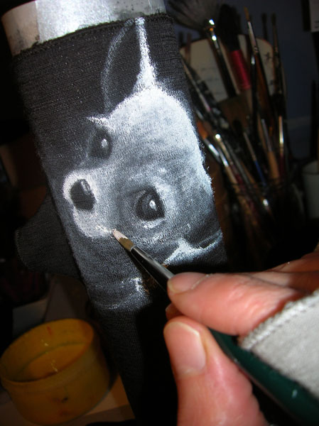 Anna Maria Di Giorgi: guanti in lana dipinti a mano