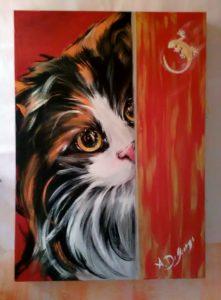 Gatto e Jeko,acrilico su tela,50x60