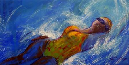 Il nuoto - smalto e acrilico su tela, 50x100
