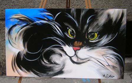 """Anna Maria Di Giorgi - """"Gatto"""", acrilico su tela, 40x70"""