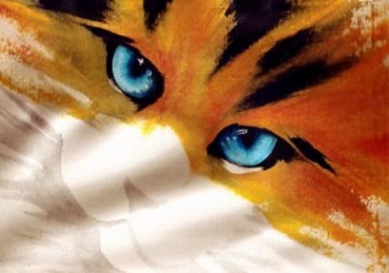 A. Di Giorgi: Gatto dipinto su tessuto