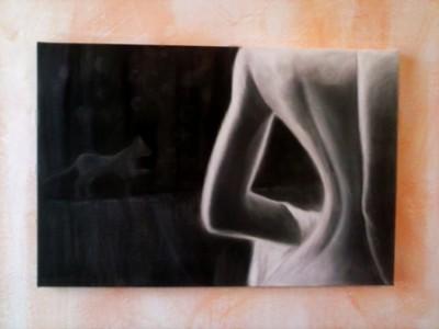 Nudo di donna, carboncino su tela,40x60