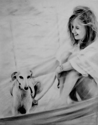 Estrella e la sua mamma - carboncino su tela, 40x50