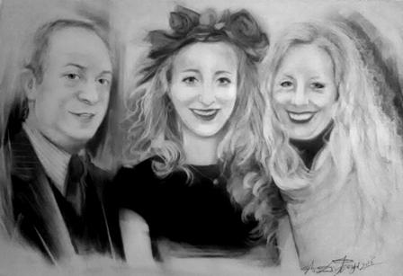 Ritratto di famiglia - carboncino su tela, 35x50