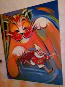 Gatto e Pinocchio,acrilico su tela,40x50