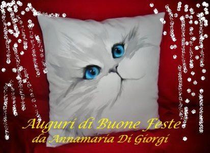 Gatto dipinto a mano su cuscino