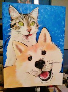 Ciuri, il gatto, e Miok - Acrilico su tela,30x40