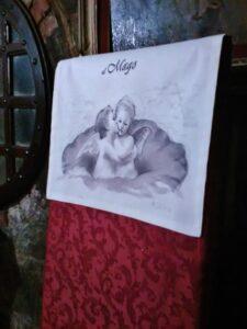 Angeli, copri sedia dipinto a mano