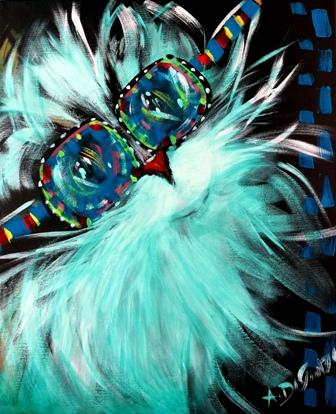 Dipinti: Il gatto con gli occhiali, acrilico su tela, f.to 50x60